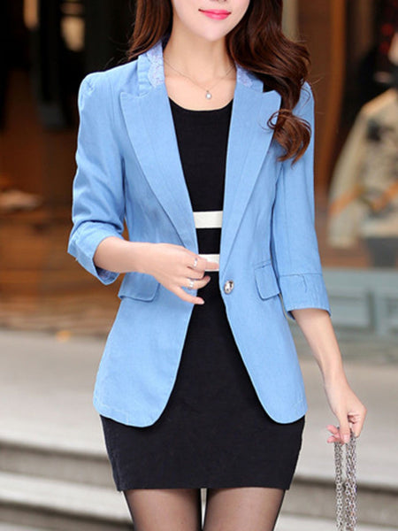 Notch Lapel Decorative Lace Single Button Plain Blazer - Bychicstyle.com