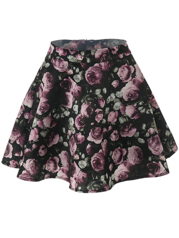 Casual Absorbing Floral Printed Flared Mini Skirt