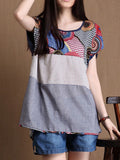 ByChicStyle Round Neck Printed Striped High-Low Blouse - Bychicstyle.com