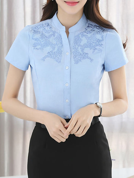 Casual Band Collar Embroidery Plain Blouse