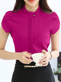 Streetstyle  Casual Band Collar  Ruffle Trim  Plain  Petal Sleeve Blouse