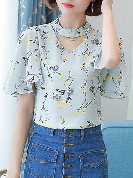 Streetstyle  Casual Band Collar Cutout Floral Cape Sleeve Blouse