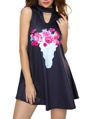 Band Collar Keyhole Floral Printed Skater Dress - Bychicstyle.com