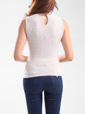 ByChicStyle Casual Band Collar Plain Sleeveless T-Shirt