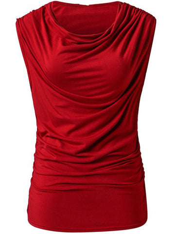 Cowl Neck Ruched Plain Sleeveless T-Shirt - Bychicstyle.com
