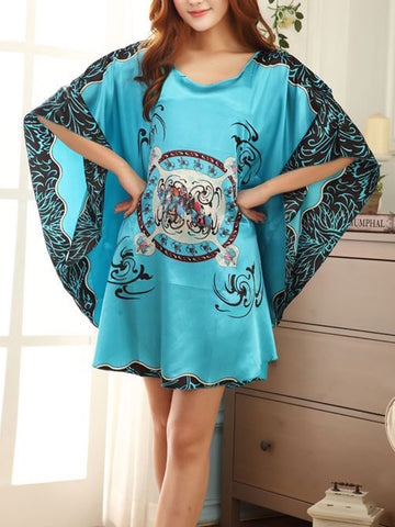 Casual Abstract Print Batwing Sleeve Nightgown