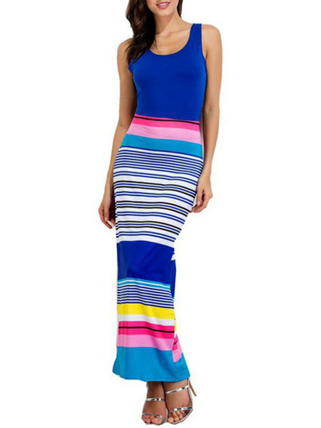 Scoop Neck Striped Fitted Sleeveless Maxi Dress - Bychicstyle.com