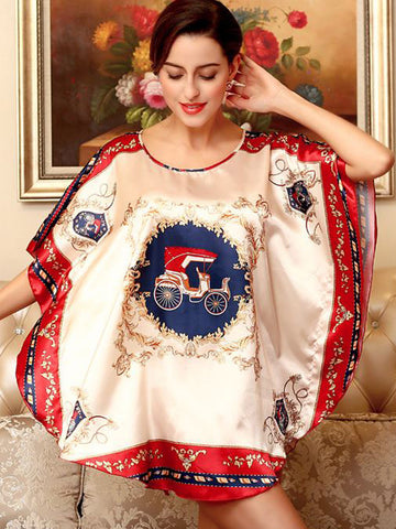 Carriage Printed Batwing Sleeve Nightgown - Bychicstyle.com