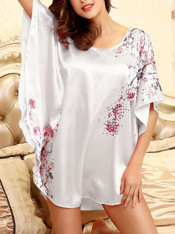 Floral Batwing Sleeve Nightgown - Bychicstyle.com