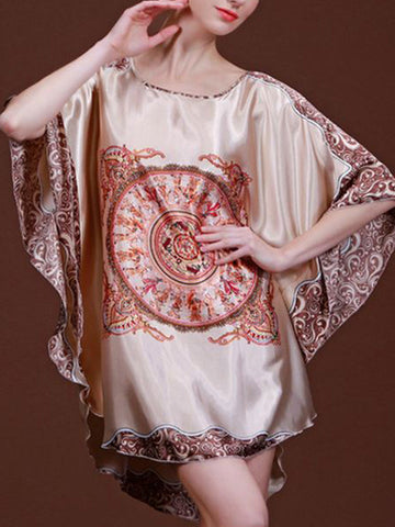 Print Batwing Sleeve Nightgown - Bychicstyle.com