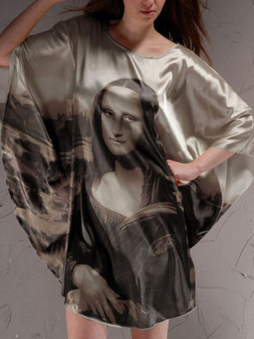 Mona Lisa Smile Batwing Sleeve Nightgown - Bychicstyle.com