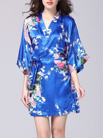 Floral Kimono Satin Nightgown - Bychicstyle.com