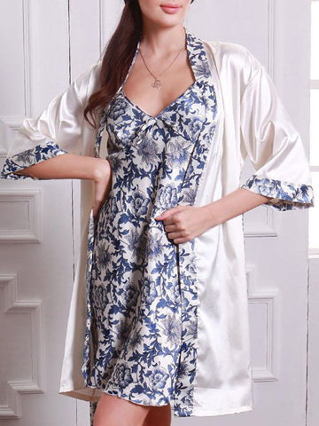 Blue-And-White Porcelain Two Pieces Pajama Set - Bychicstyle.com