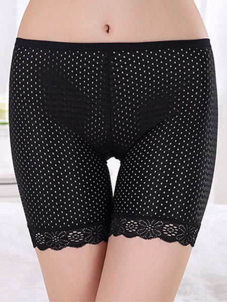 Black Hollow Out Thin Short Legging Underpant - Bychicstyle.com