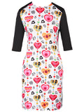 ByChicStyle Crew Neck Cute Heart Printed Bodycon Dress - Bychicstyle.com