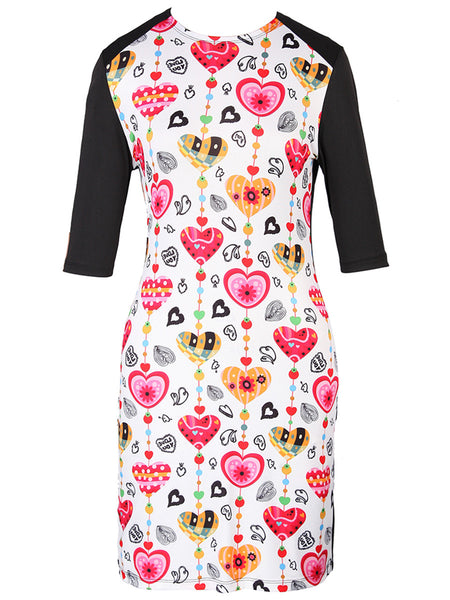 Crew Neck Cute Heart Printed Bodycon Dress - Bychicstyle.com