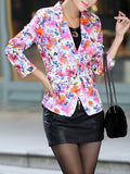 ByChicStyle Notch Lapel Decorative Button Floral Printed Blazer - Bychicstyle.com