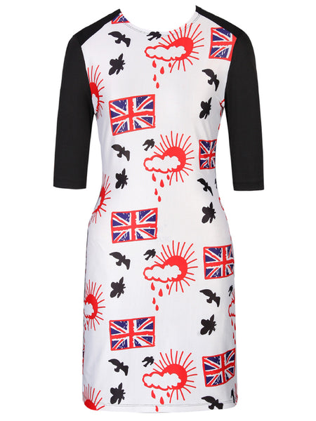Crew Neck Lovely Flag Bird Printed Bodycon Dress - Bychicstyle.com
