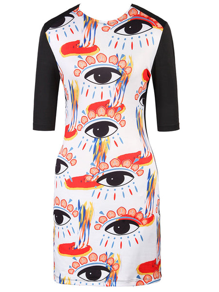 Crew Neck Colorful Eye Printed Bodycon Dress - Bychicstyle.com