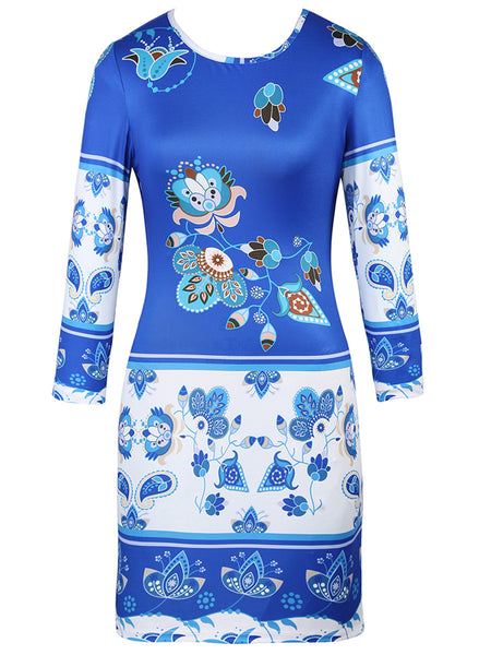 Round Neck Excellent Printed Long Sleeve Bodycon Dress - Bychicstyle.com