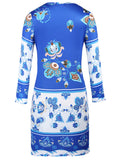 ByChicStyle Round Neck Excellent Printed Long Sleeve Bodycon Dress - Bychicstyle.com
