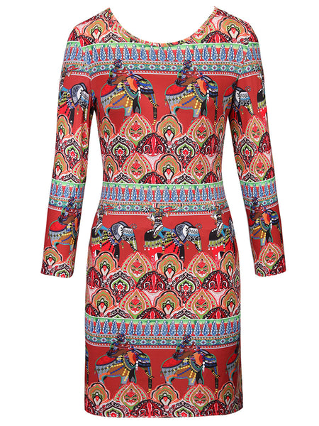 Round Neck Unique Ethnic Style Printed Bodycon Dress - Bychicstyle.com