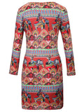 ByChicStyle Round Neck Unique Ethnic Style Printed Bodycon Dress - Bychicstyle.com