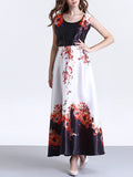 ByChicStyle Exquisite Round Neck Floral Printed Sleeveless Swing Maxi Dress - Bychicstyle.com