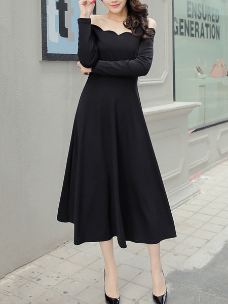 Off Shoulder Scallop Plain Flared Maxi Dress - Bychicstyle.com