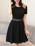ByChicStyle Round Neck Patchwork Hollow Out Cocktail Dress - Bychicstyle.com