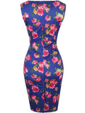 ByChicStyle Chic Keyhole Floral Printed Slit Decorative Hardware Bodycon Dress - Bychicstyle.com