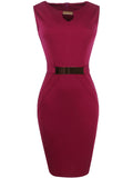 ByChicStyle Casual Elegant Solid Keyhole Decorative Hardware Round Neck Slit Bodycon Dress