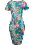 ByChicStyle Round Neck Graceful Design Floral Printed Bodycon Dress - Bychicstyle.com