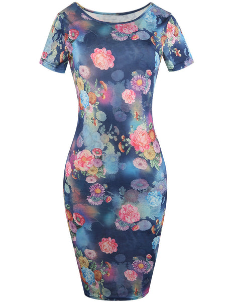 Round Neck Graceful Design Floral Printed Bodycon Dress - Bychicstyle.com