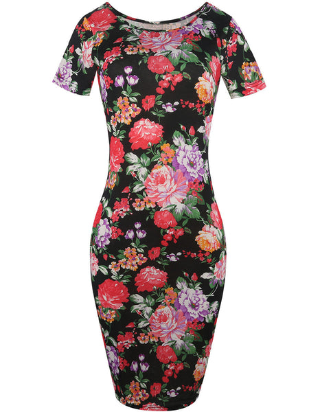 Round Neck Floral Printed Delicate Bodycon Dress - Bychicstyle.com