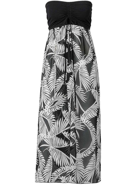 Strapless Patchwork Printed Empire Maxi Dress - Bychicstyle.com