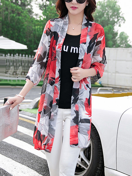 Delicate Collarless See-Through Chiffon Floral Kimono - Bychicstyle.com
