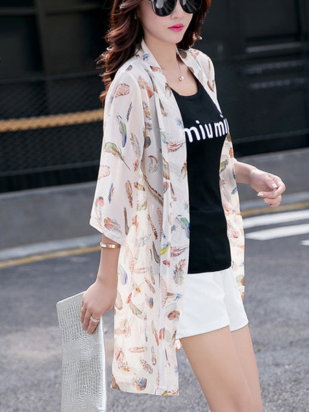 Delightful Collarless See-Through Feather Longline Kimono - Bychicstyle.com