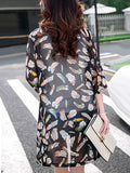 ByChicStyle Delightful Collarless See-Through Feather Longline Kimono - Bychicstyle.com