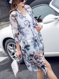 ByChicStyle Longline Collarless See-Through Printed Kimono - Bychicstyle.com