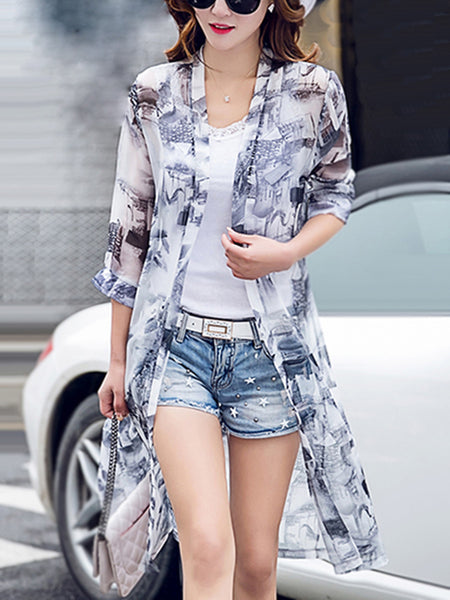 Longline Collarless See-Through Printed Kimono - Bychicstyle.com