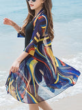 ByChicStyle Glamorous Collarless Hollow Out Printed Longline Kimono - Bychicstyle.com