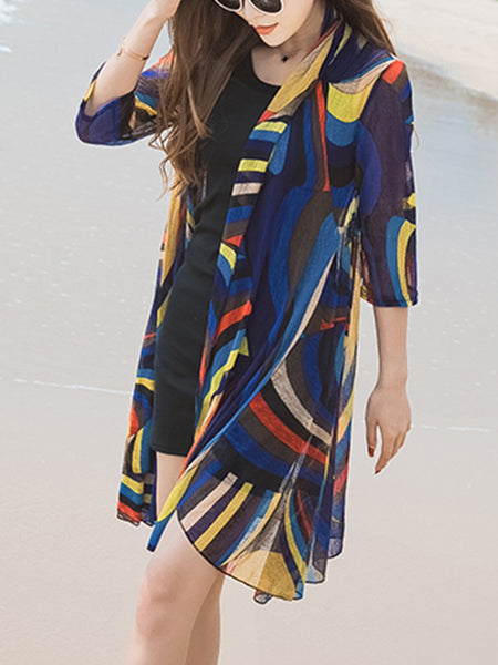 Glamorous Collarless Hollow Out Printed Longline Kimono - Bychicstyle.com