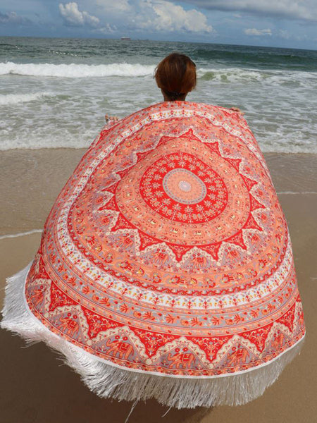 Casual Elephant Long Fringe Round Beach Shawl Beach Blanket