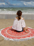 ByChicStyle Casual Elephant Long Fringe Round Beach Shawl Beach Blanket