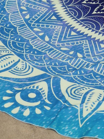 Blue Eyes Printed Round Beach Blanket - Bychicstyle.com