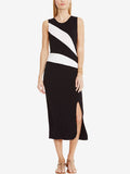 ByChicStyle Modern Round Neck Side Slit Color Block Midi Bodycon Dress - Bychicstyle.com