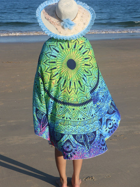 Green Gradient Beach Shawl - Bychicstyle.com