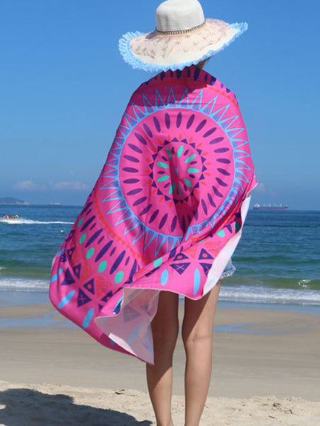 Feather Printed Peach Round Beach Shawl - Bychicstyle.com