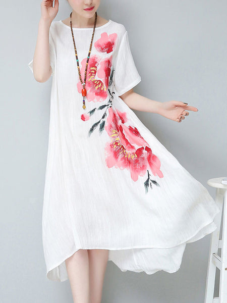 Casual Round Neck Asymmetric Hem Floral Printed Shift Dress